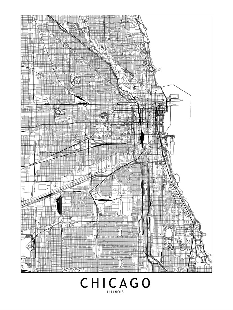 Chicago White Map by multiplicitymap