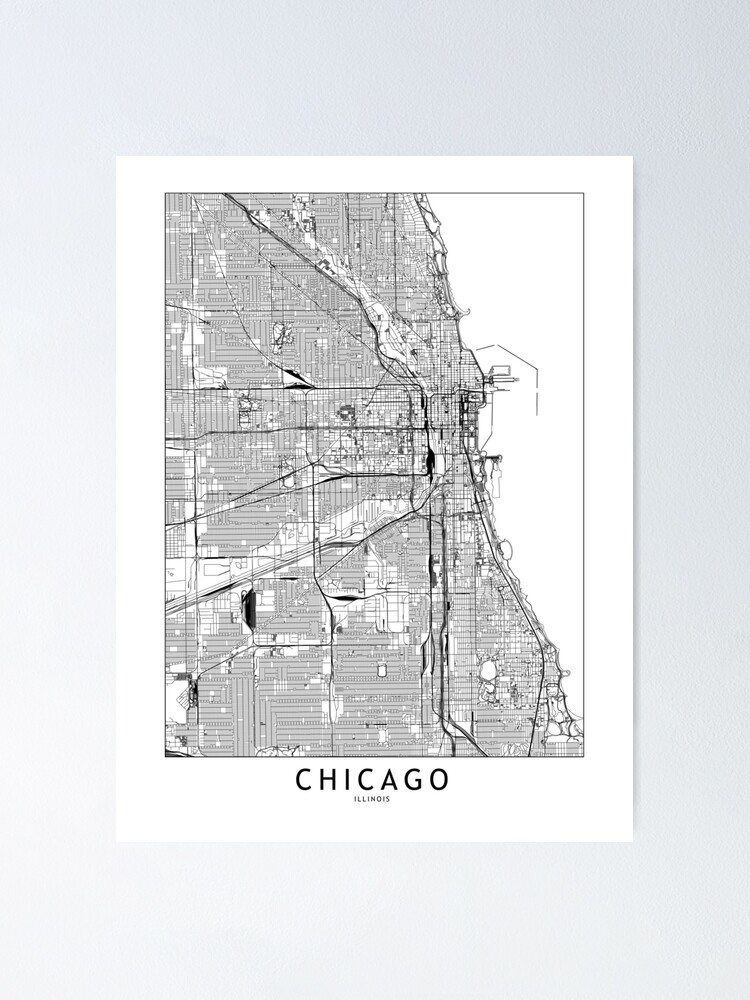 Alternate view of Chicago White Map Poster