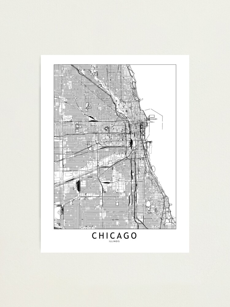 Alternate view of Chicago White Map Photographic Print