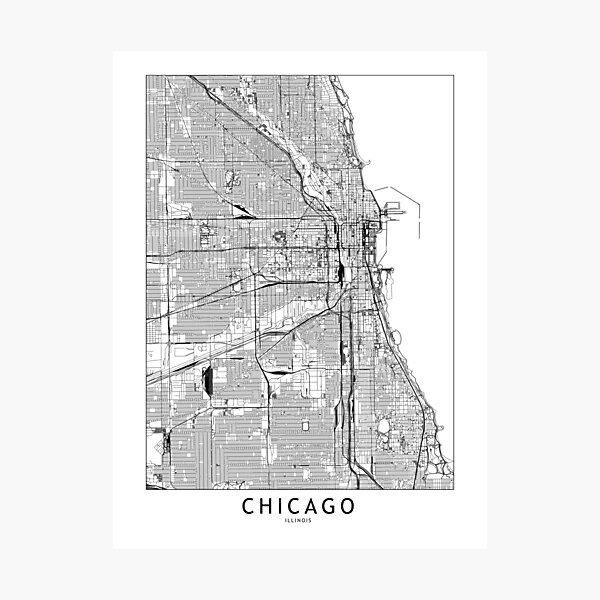 Chicago White Map Photographic Print