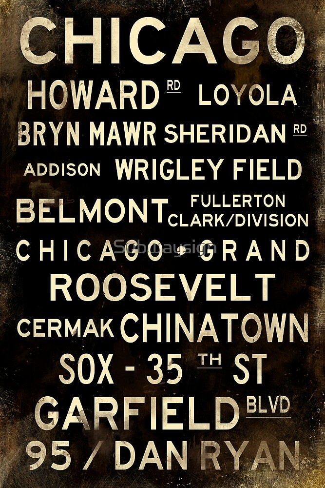 Distressed Chicago L Subway Sign Art by Subwaysign