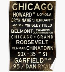 Distressed Chicago L Subway Sign Art Poster