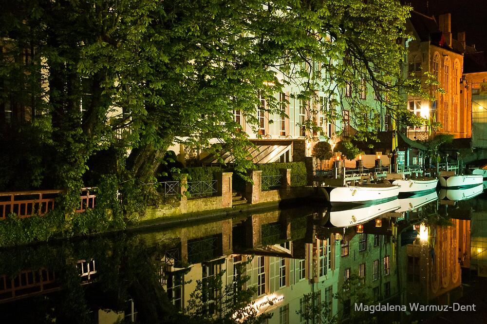 Brugge by night - reflections by Magdalena Warmuz-Dent