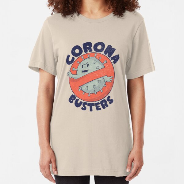 Corona Busters Logo T Shirt Mask for Frontline Virus Covid19 Fighters Healthcare Hero Workers Survived ICU Nurse Doctors MD Medical Staff Self Isolating Toilet Paper Apocalypse Coronabusters Volunteer Slim Fit T-Shirt