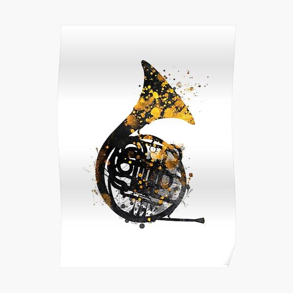 french horn music art #music Poster