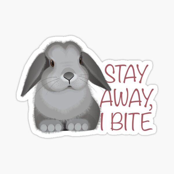 Stay away, I bite. Personal space for bunnies. Sticker