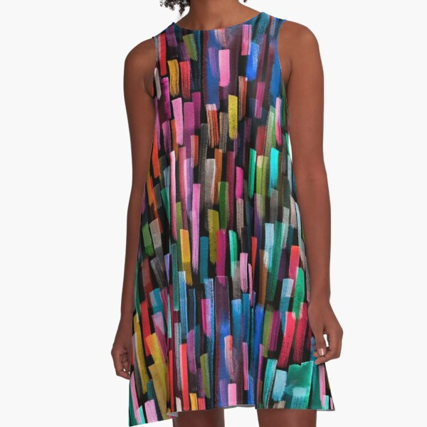Multicolored watercolor stripes pattern A-Line Dress