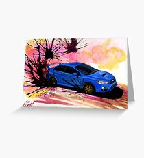 2015 Blue Subaru STi Drift Watercolor Print Greeting Card