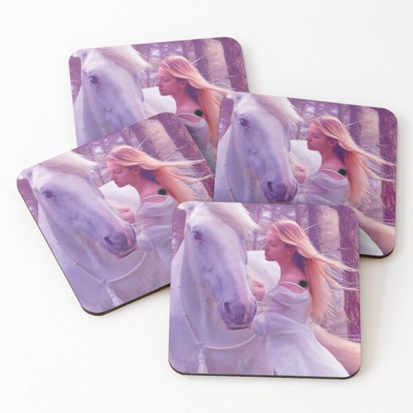 Mystical Girl with Horse Coasters (Set of 4)