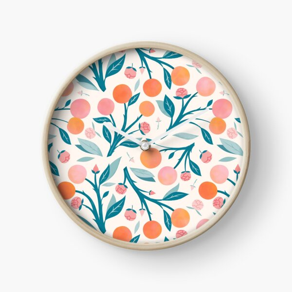 Peaches and Peony Buds Clock