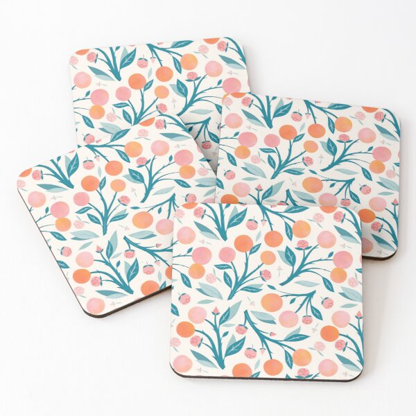 Peaches and Peony Buds Coasters (Set of 4)