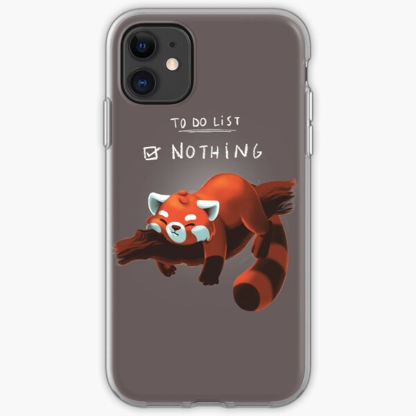 Red Panda Day - to Do List Nothing - Cute Fluffy Animal - Procrastinate Coque souple iPhone