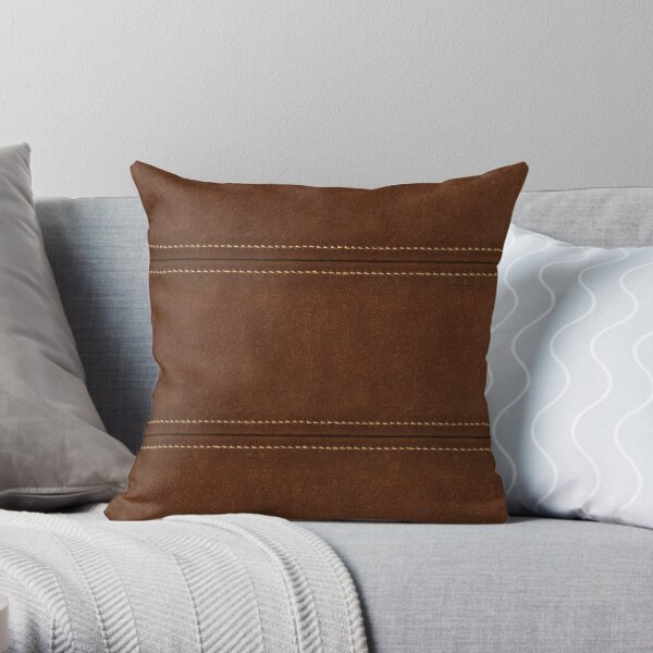 Stitched Leather - Brown Throw Pillow