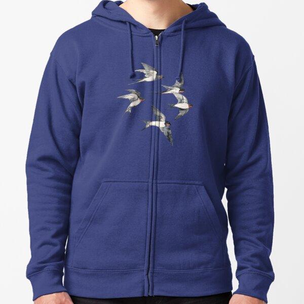 Blue Sky Swallow Flight Zipped Hoodie