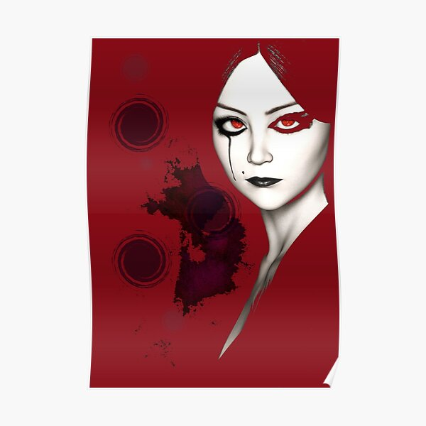 Stylized Gothic Lady in Red Poster