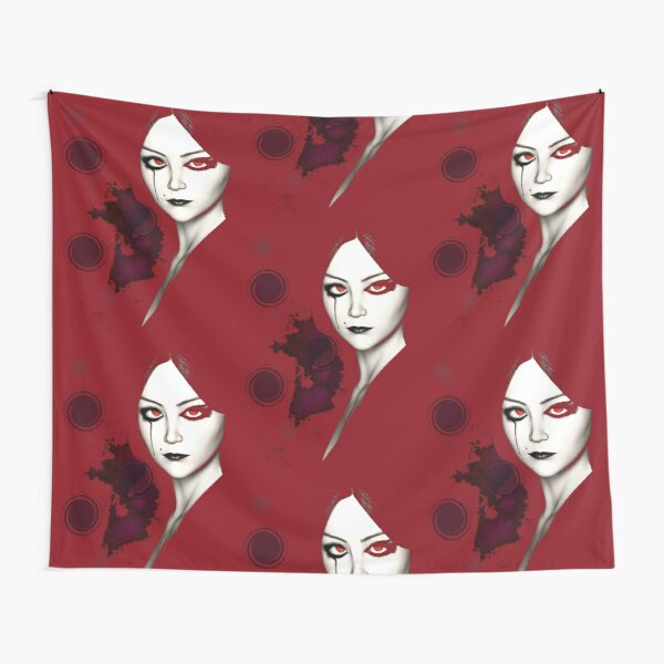 Stylized Gothic Lady in Red Tapestry