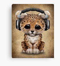 Cute Leopard Cub Dj Wearing Headphones  Canvas Print