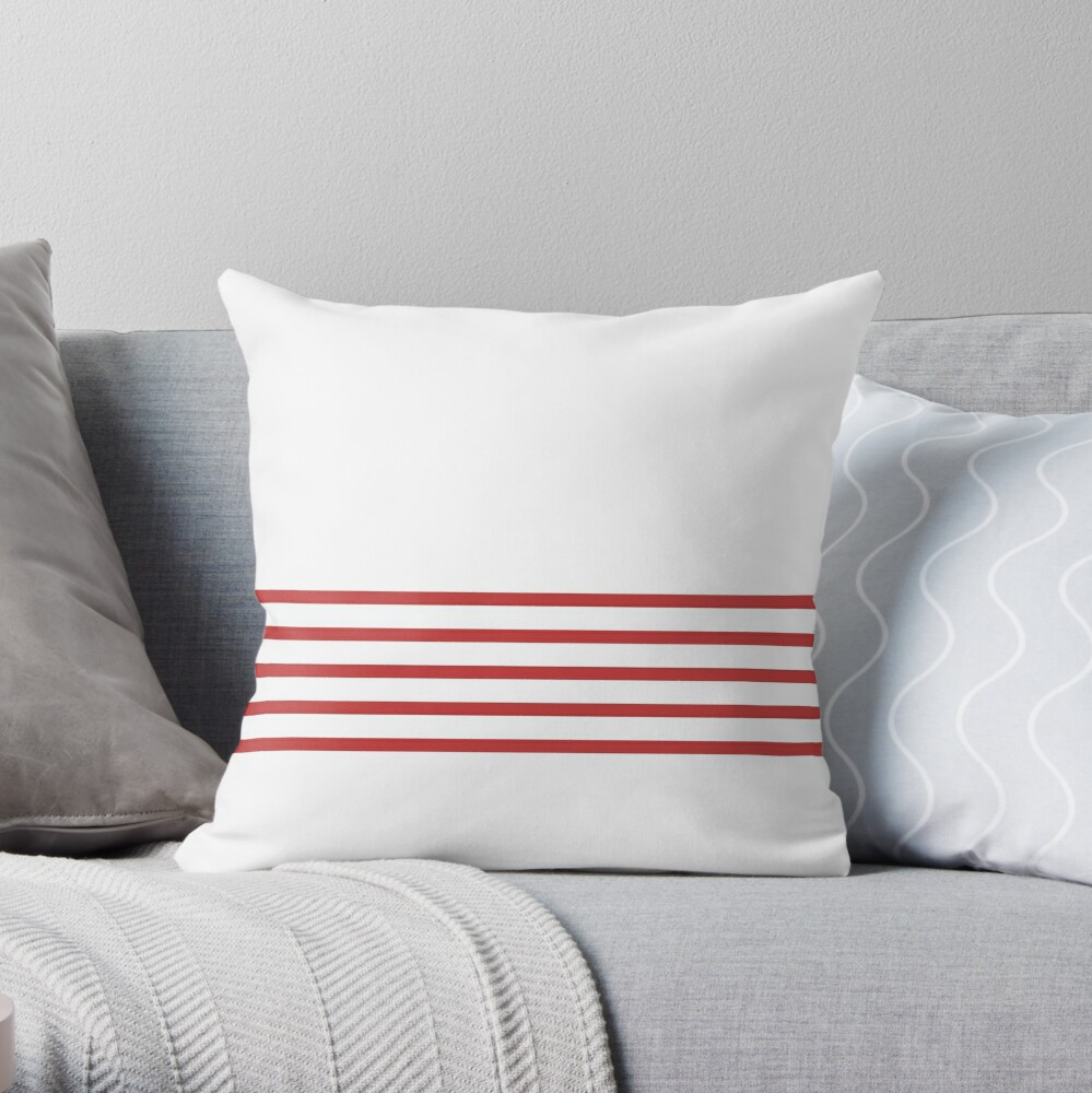 Trendy White and Red Stripes Design Throw Pillow