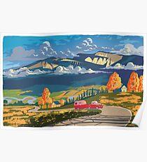Vintage travel camper country landscape poster Poster