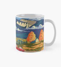 Vintage travel camper country landscape poster Mug