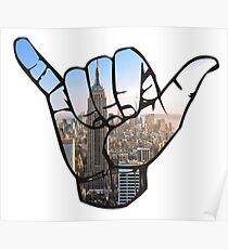 New York City Shaka Hand Poster