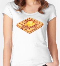 Waffle Pattern Women's Fitted Scoop T-Shirt