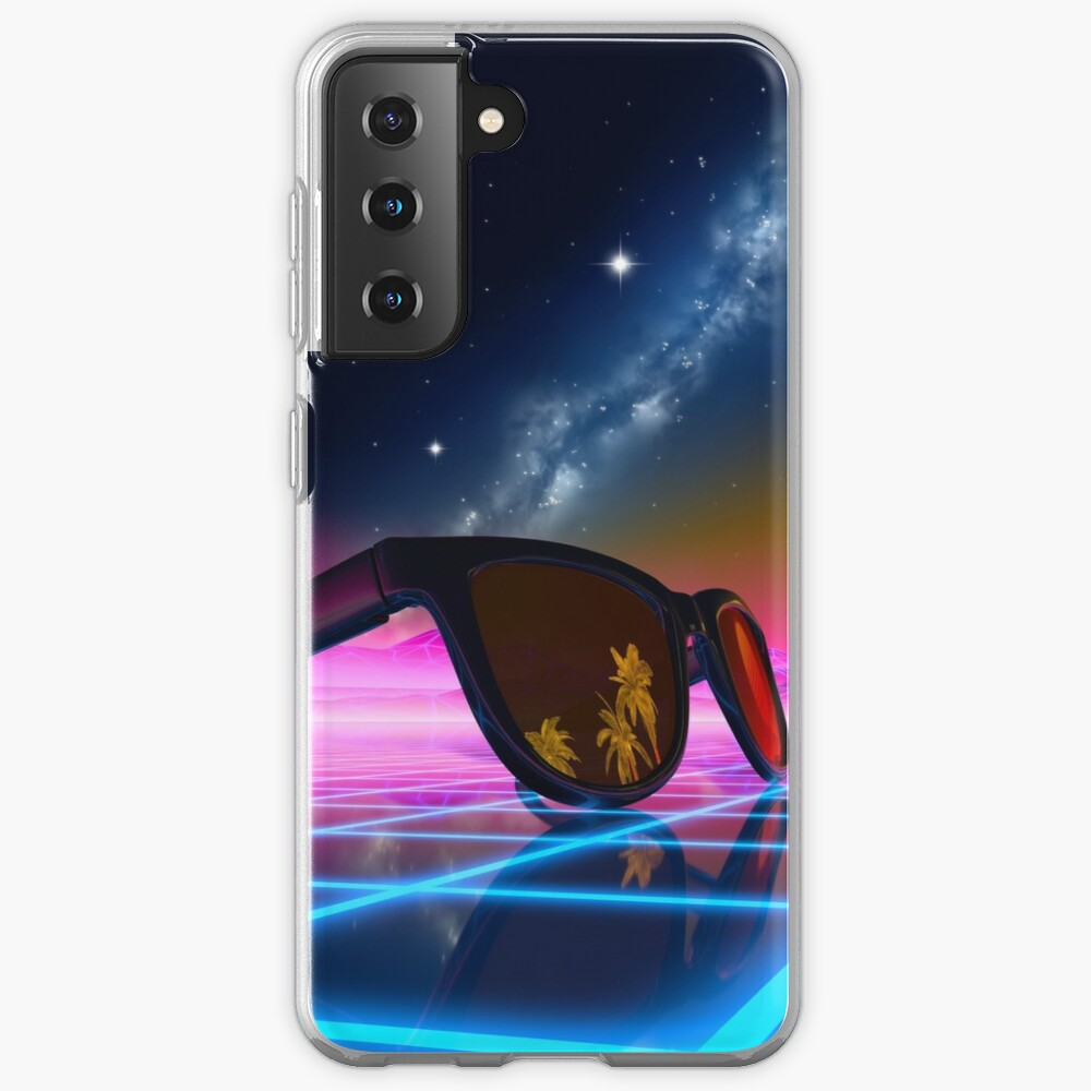 Sunglasses in a synthwave landscape Samsung Galaxy Phone Case