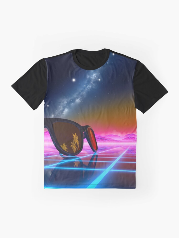 Alternate view of Sunglasses in a synthwave landscape Graphic T-Shirt