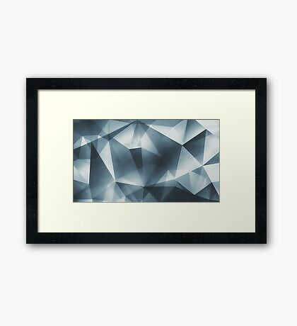 Abstract geometric triangle pattern ( Carol Cubism Style) in ice silver - gray Framed Print