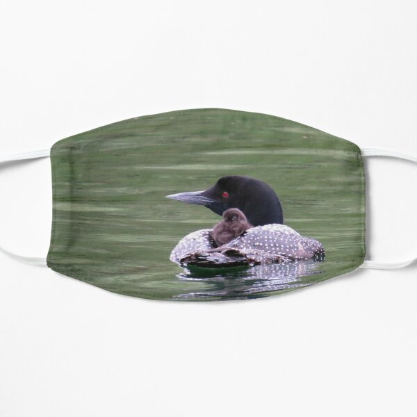 Loon with Chick on its Back Flat Mask