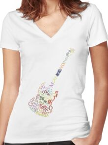 Guitar Typology No Background Women's Fitted V-Neck T-Shirt
