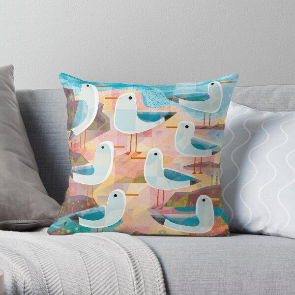 Seagulls on a Sunlit Shore Throw Pillow