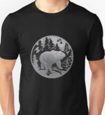 Bear Strolling In Snow Through Pine Forest Emblem T-Shirt