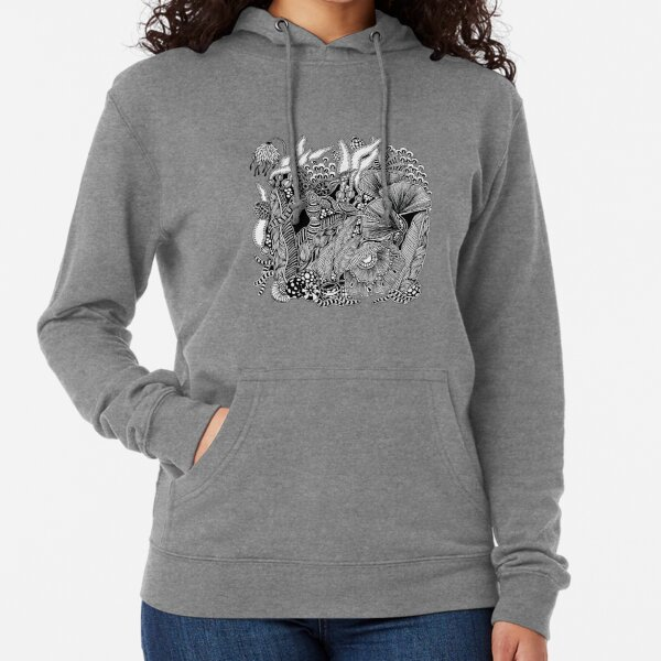 Under The Sea #4 Black and White Doodle Art Lightweight Hoodie
