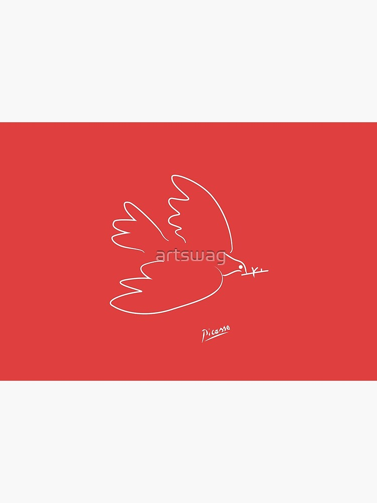 Picasso - Dove - Signature - Line Drawing - WHITE by artswag