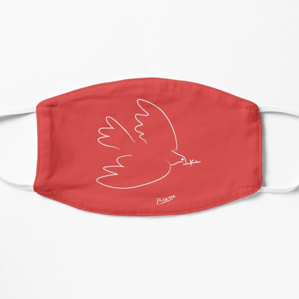 Picasso - Dove - Signature - Line Drawing - WHITE Flat Mask