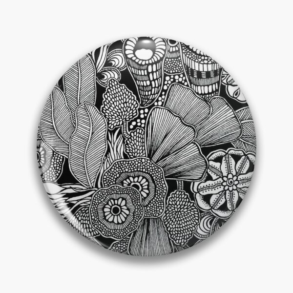 Rainforest Black and White Doodle Art Pin