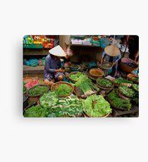 Green Market Vegetables Canvas Print