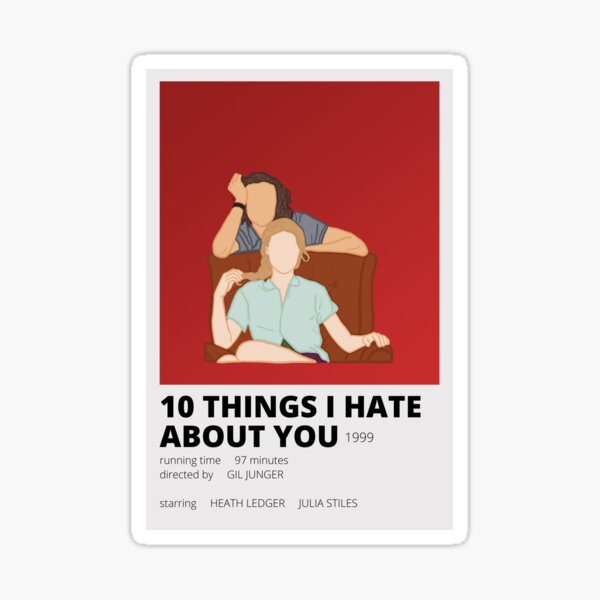 10 things i hate about you minimalist sticker Sticker