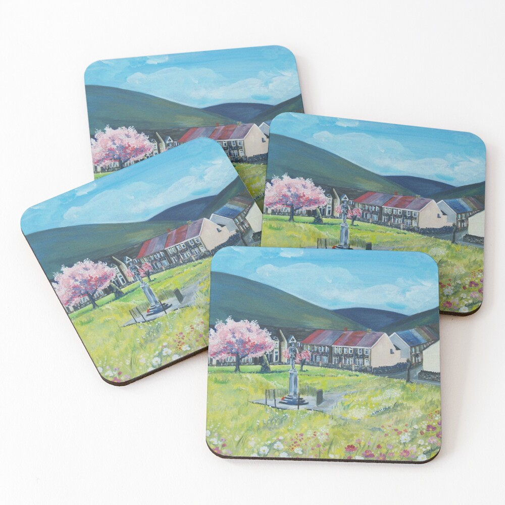 Acrylic Painting of The daisy park Coasters (Set of 4)