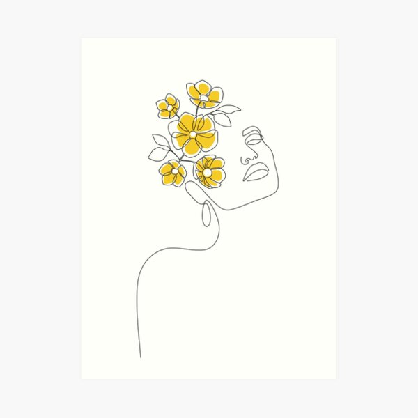 Mustard Bloom Girl Art Print
