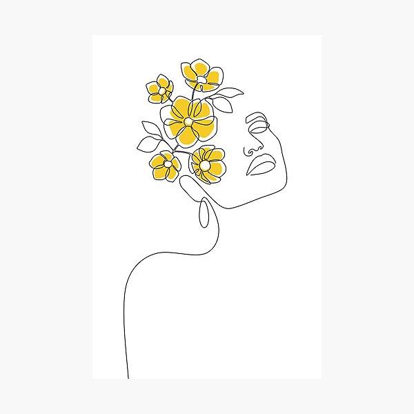 Mustard Bloom Girl Photographic Print