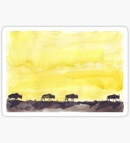 Wildebeest against the Sunset Sticker