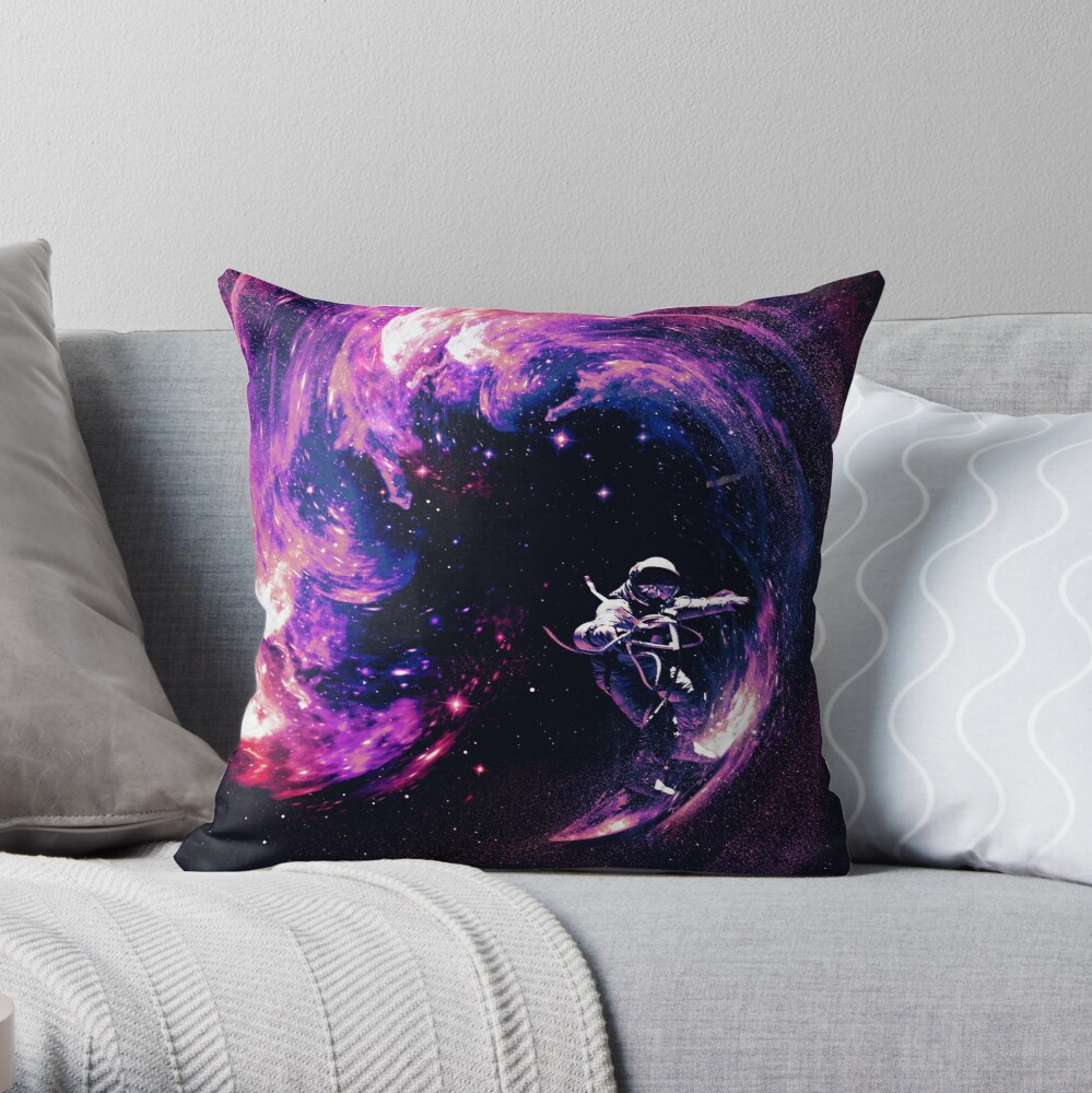 Space Surfing II Throw Pillow