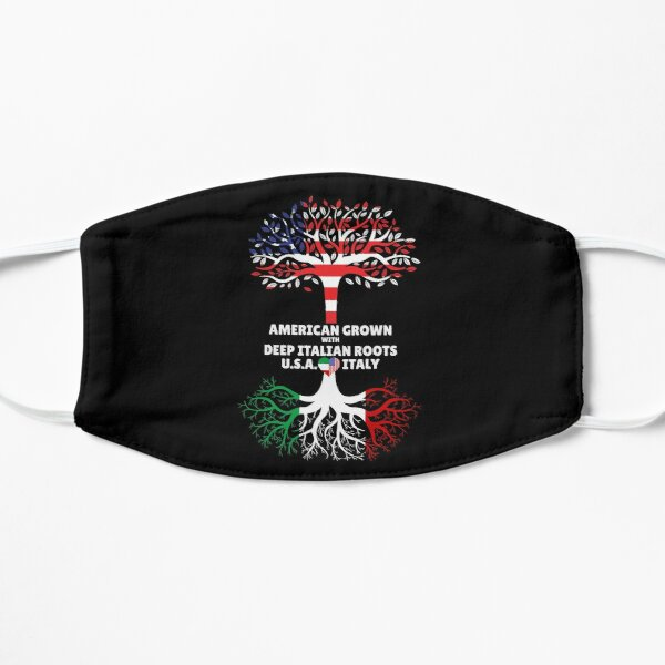American Grown With Deep Italian Roots Italy Heart USA Flat Mask