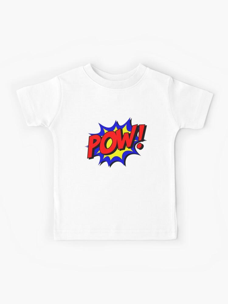 POW KIDS CHILDRENS T-SHIRT TOP BAT COMIC FAN DESIGN MAN CARTOON BOYS COL