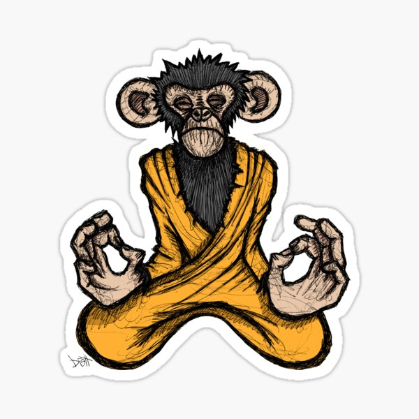 Zen Monkey Sticker