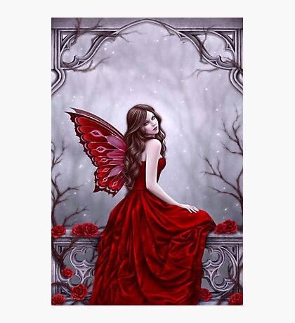 Winter Rose Butterfly Fairy Photographic Print