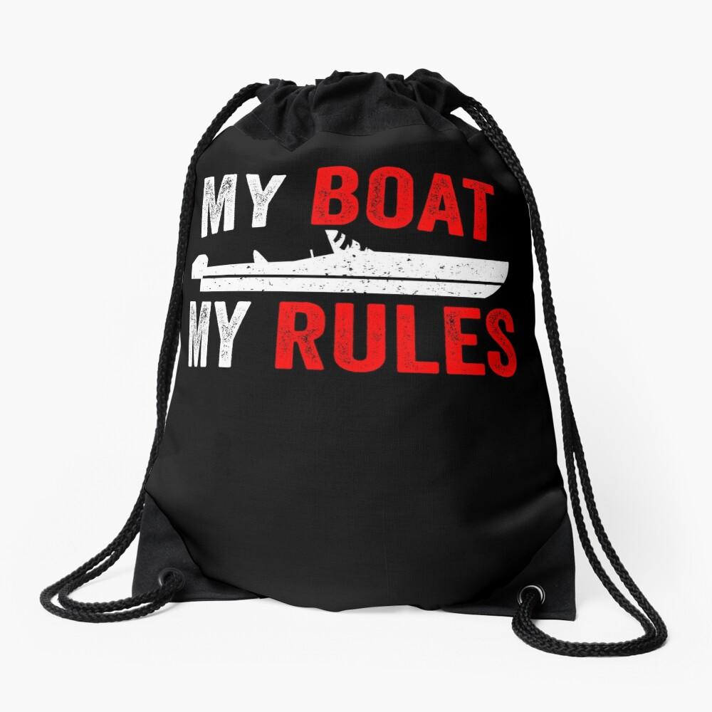 Funny Motorboat Boating Captain Gift Drawstring Bag