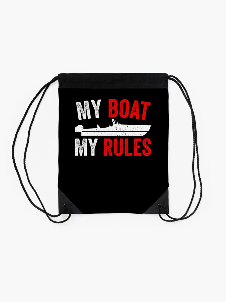 Alternate view of Funny Motorboat Boating Captain Gift Drawstring Bag